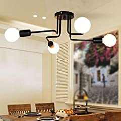 Xpork Vintage Ceiling Light Modern Retro Black Industrial Metal E27 Creative Pendant Lamp 4 Arms #1