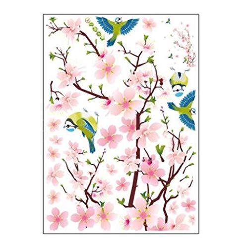 Gaoqi Habitación Flor de melocotón Flor Mariposa Pegatinas de Pared Vinilo Arte calcomanías decoración Mural