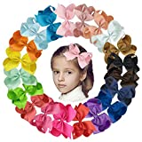 20pcs 6' Girls Hair Bows Clips Boutique Grosgrain Ribbon Big Hair Bows with Alligator Clips Hair Accessories for Girls Toddlers Baby Infants Kids Teens
