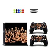 Chickwin Skin for PS4, Vinyle Protective Autocollant Decal Sticker pour Playstation 4 Console + 2 Dualshock Manette Set Skins + 10pc Thumb Grips + 2pc Light Bar au Hasard (Sexy Filles)