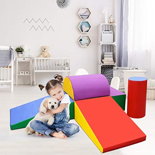 EOSAGA Foam Climbing Blocks, 6 Pcs Lightweight Indoor Climbing Toys for Climbing, Crawling and Sliding, Climb and Crawl Activity Play Set for Toddlers 1-3 (Rainbow)
