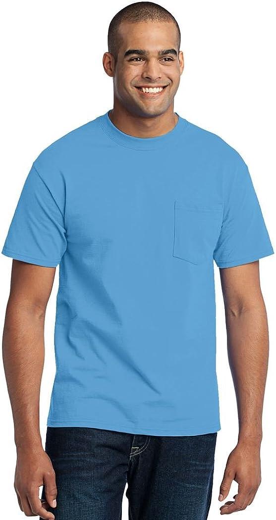 Port & Company Tall 50/50 Cotton/Poly T-Shirt with Pocket-2XLT (Aquatic Blue)