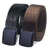 WYuZe Nylon Military Tactical Men Belt 2 Pack Webbing Canvas Outdoor Web Belt Plastic Buckle (waist-below 42', black + coffee)