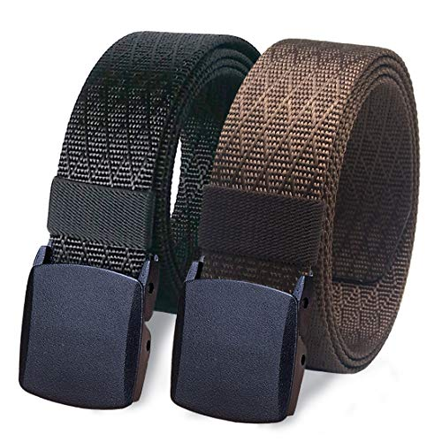 WYuZe Nylon Military Tactical Men Belt 2 Pack Webbing Canvas Outdoor Web Belt Plastic Buckle (waist-below 42', black + coffee)