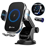 WAITIEE Car Wireless Charger,Qi 15W Fast Charging Cell Phone Automobile Chargers,Auto-Clamping car bracket for iPhone 12/11/Pro Max/XS/XR/X/8plus/8/,Samsung S10/S10+/S9/S9+/S8/S8+(with a QC3.0adapter)