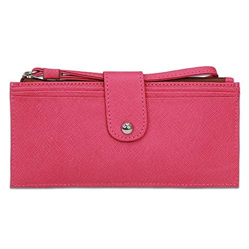 Hobo International Pipa Vintage Ledergeldbörse mit Handgelenk, Pink Saffiano