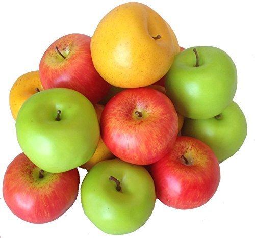 Deko Kunstobst Kunstgemüse künstliches Obst Gemüse Dekoration Apfel (bunt, 15 Stück schweren Qualität)