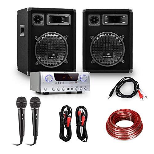 Equipo PA ''READY 2 GO'' amplificador altavoces micros 800W