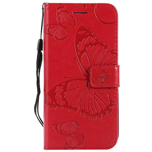 DENDICO Cover Galaxy S6 Edge, Pelle Portafoglio Custodia per Samsung Galaxy S6 Edge Custodia a Libro con Funzione di appoggio e Porta Carte di cRossoito - Rosso