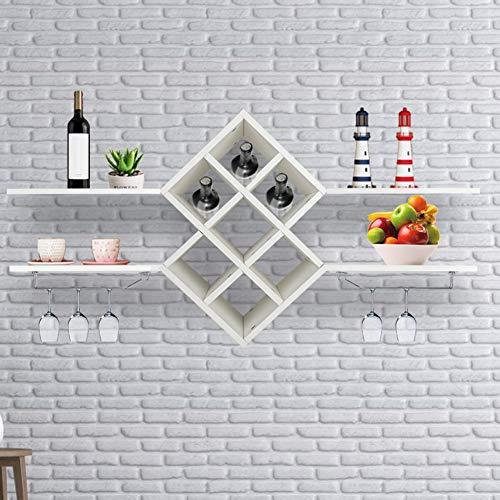 Estante para vino montado en la pared con soporte para copas 4 estantes flotantes Accesorios de barra Estantería Estante para vino montado en la pared, Tabla de afeitar para bebidas, organizador d