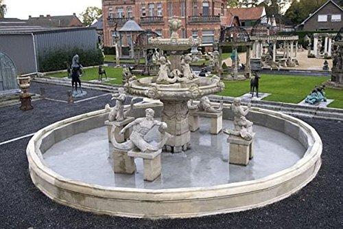 pompidu-living Parkbrunnen, Gartenbrunnen, Zierbrunnen mit Figuren und Umrandung H 550 Ø 1100 Farbe Hellgrau