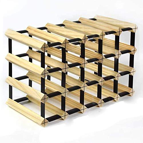 Effen houten rooster wijnrek op maat gemaakt huis restaurant woonkamer kelder kast display plank decoratie 20 fles wijnrek - volledig gemonteerd - licht hout opslag rack