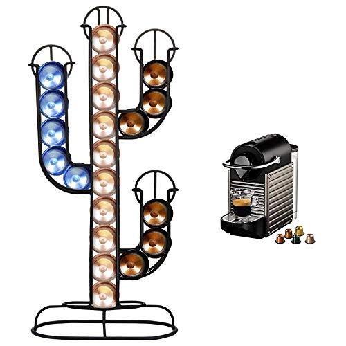 Bakaji Portacapsule Porta Capsule Caffe  Nespresso Forma Cactus Dispenser Stand in Metallo 40 Posti Colore Nero Dimensione 42 x 10 x 19,5 cm Design Moderno