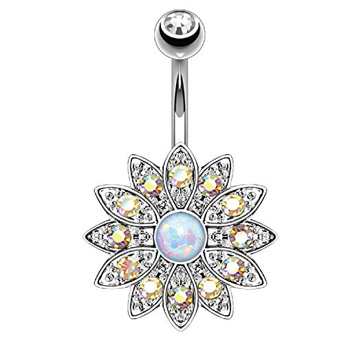 BodyJ4You Belly Button Ring Flower White Created-Opal Stone Aurora CZ 14G...
