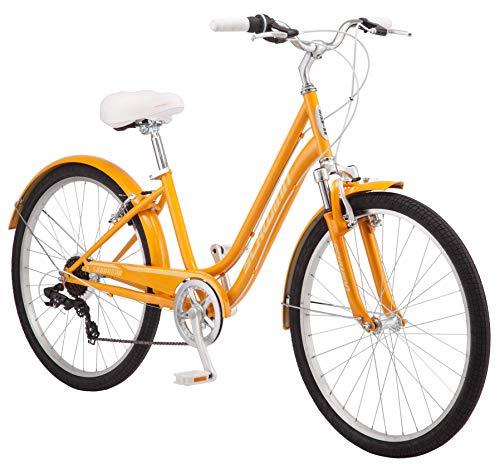 Schwinn Suburban Womens Classic Comfort Bike, 26-Inch Wheels, 7-Speed Drivetrain, 16-Inch Steel Frame, Alloy Linear Hand Brakes, Orange