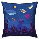 Protector de funda de almohada cuadrada de dibujos animados Mundo submarino Peces en acuario y cangrejos ballena Medusa Burbujas Azul coral y multicolor Fundas de cojín Fundas de almohada para sofá Do
