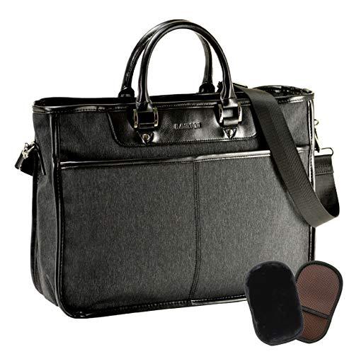 平野鞄 ビジネスバッグ ブリーフケース メンズ 軽量 自立 大きめ B4 A4ファイル対応 ショルダーベルト 通勤 黒 ブラック 横幅41cm +オリジナル高級ムートングローブ