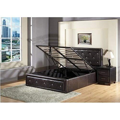 7Star - Cama tipo otomana con canapé para almacenamiento, elevación a gas, negro, matrimonio