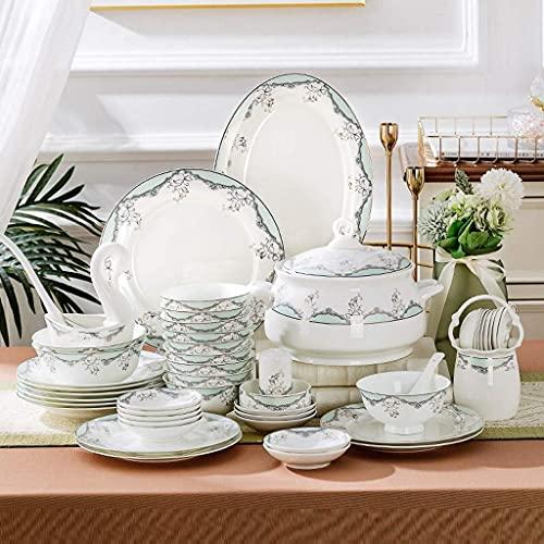 China Juego de vajilla, plato de cena Juego de vajilla, 48 piezas Juego de cena de porcelana de hueso adecuado para housewarmingurant y regalos de boda - Juego de platos y cuencos de cerámica de