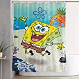 ngquzhe Süße Sponge-Bob Duschvorhang Polyestergewebe wasserdicht Badezimmer Dekor Set waschbar mit 12 Haken, 60 x 70 Zoll