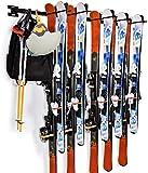 Portaoggetti per sci Portaoggetti per snowboard Supporto a parete per portasci in metallo resistente Porta fino a 10 paia, 200 libbre per casa e garage Appendiabiti per organizer 3 rastrelliere