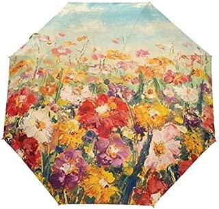 BEESCLOVER Rain Umbrella 3 Folding Umbrella Anti UV Outdoor Travel Oil Painting Full Sun Ombrello Red One Size