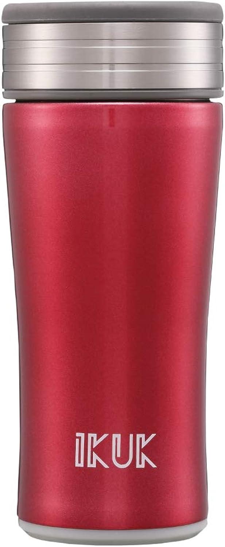 IKUK Ceramic inner thermos, odor-free, flexible handle, stainless steel vacuum, 12 ounce
