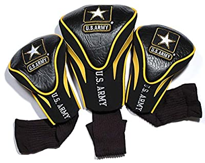 Team Golf Military Contour Golf Club Headcovers (3 Count), Numbered 1, 3, X, Fits Oversized Drivers, Utility, Rescue & Fairway Clubs, Velour Lined for Extra Club Protection, Medium/Large,Black