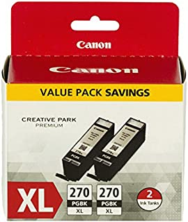 Canon PGI-270XL Black Twin Value Pack Compatible to MG6820, MG6821, MG6822, MG5720, MG5721, MG5722, MG7720, TS5020, TS6020, TS8020, TS9020