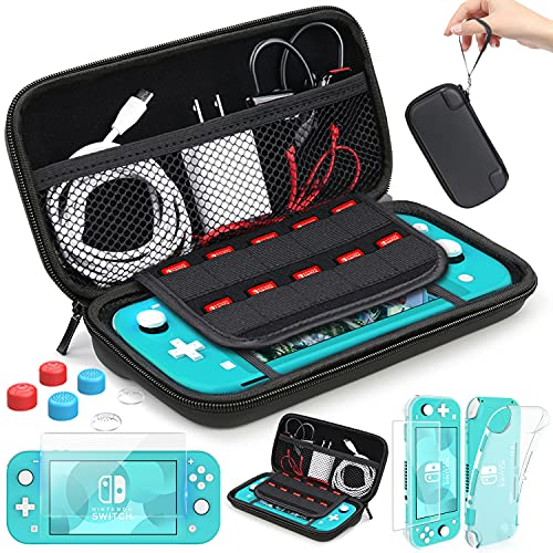HEYSTOP Switch Lite Case for Nintendo Switch Lite Carrying Case with Game Cards Storage, Switch Lite Protective Cover Case with Tempered Glass Screen Protector and Thumb Grip Caps Accessories