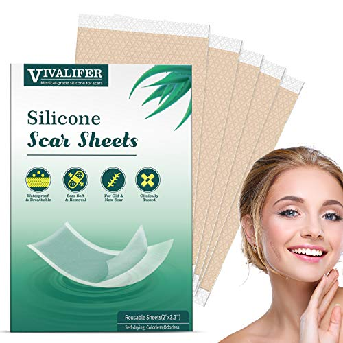 Scar Removal Patches, Scar Removal Strips Fast & Effective on Keloid, Professional Removal Sheets for Scars Caused by C-Section, Surgery, Burn, Acne, 5 Reusable Scar Sheets, 2