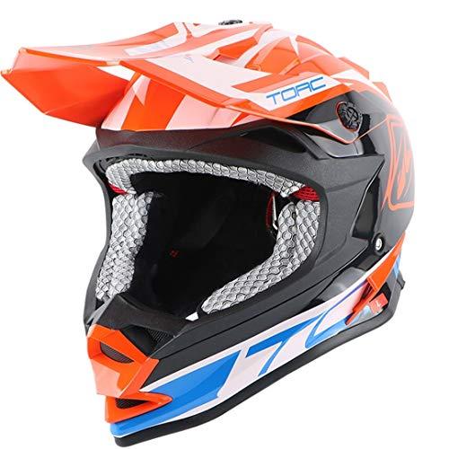 Sportinents Casco Off Road Adulto Moto Casco Dirty Bike Racing Cross Motocross Cascos Orange Jazz L