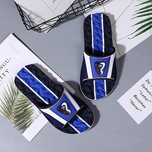 B/H Hausschuhe Unisex Dusch-& Badeschuhe,Personalisierte Flip Flops, Strandmassagesandalen-Blue_40,SommerrutschfesteMassagesandalen