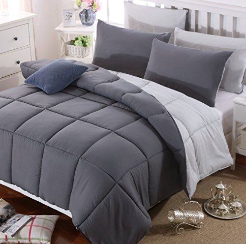 AYSW Duvet Double Warm and Anti Allergy 4.5 Tog Summer Cool Lightweight 150GSM Quilt NO Pillowcases Only Duvet Dark Grey and Light Grey
