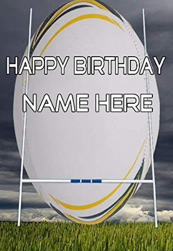 fht35 Rugby Happy Birthday A5 Personalisierte Grußkarte von US Gifts for All 2016 von Derbyshire UK