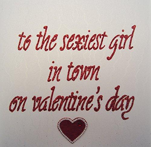 WHITE COTTON CARDS to die sexy Girl in Town On Valentine 's Day handgefertigt Valentines Karte