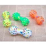 N\C 1 juguete para perros con forma de mancuerna de lunares coloridos juguetes para perros apretando lindos chillones de hueso sintético masticar juguetes para perros pequeños