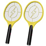 2 Pack Bug Zapper, Mosquito Killer Electric Fly Swatter, Indoor Outdoor Zapping Racket for Pest Control, Safe to Touch...