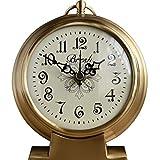 純粋な銅の無声着席時計、スタイリッシュな雰囲気のリビングルームの寝室の時計、家の装飾置時計