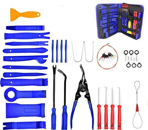 Wuudi 52 Stück Demontage Werkzeug Auto, Zierleistenkeile Verkleidungs Werkzeug für Innen-Verkleidung Ausbau, Zubehör Befestigung Clips Removal Reparatur Werkzeuge