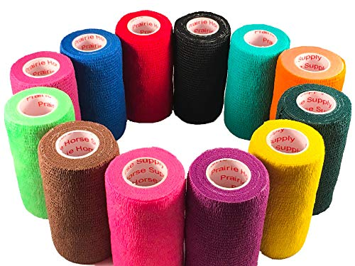 3 Inch Vet Wrap Tape Bulk (Assorted Colors) (Pack of 12) Self Adhesive Adherent Adhering Flex Bandage Rap Grip Roll for Dog Cat Pet Horse