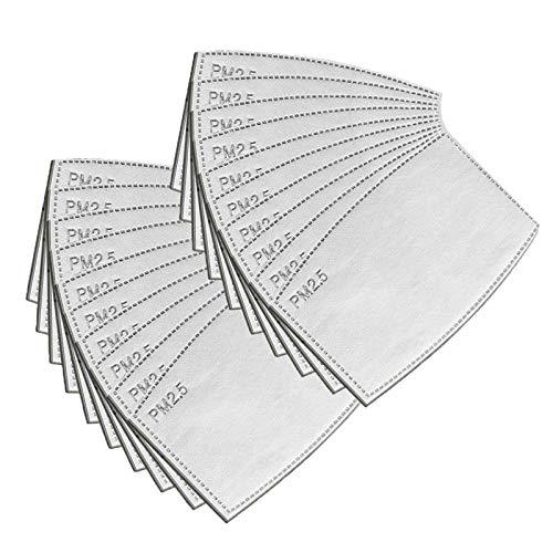 MEOKEY Filtros reemplazables unisex de 5 capas, antipolvo y niebla, filtro de carbón activado, almohadillas de algodón para exteriores,12x8cm
