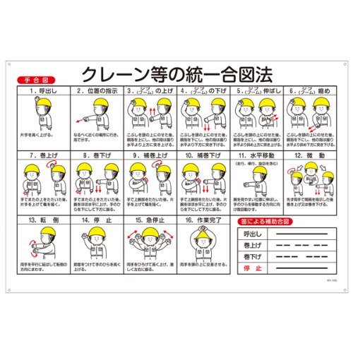 緑十字 玉掛ワイヤーロープ標識 KY-103 クレーン等の統一合図法 084103