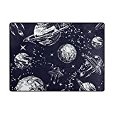 Vantaso Soft Foam Area Rugs Space Galaxy Stars Planets Non Slip Play Mats for Kids Boys Girls Playing Room Living Room 80x58 inch