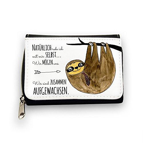 ilka parey wandtattoo-welt© Geldbörse Brieftasche Portemonnaie Faultier auf Baum mit Spruch natürlich rede ich mit Mir selbst. gk084