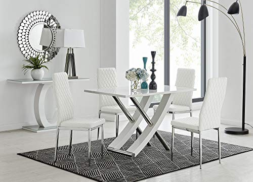 Furniturebox UK Mayfair 4 Modern White High Gloss Stainless Steel Metal Dining Table And 4 Stylish Milan Dining Chairs Seats Set (Dining Table + 4 White Milan Chairs)