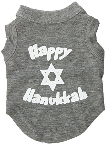 Mirage Pet Products 8-Inch Happy Hanukkah Screen Print Shirts for Pets, X-Small, Grey