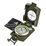 HIGHER MEN Militärkompaß Taschen Metall Peilkompass Clinometer kampierende Militar Multifunktions- #Zer (Color : Army Green)