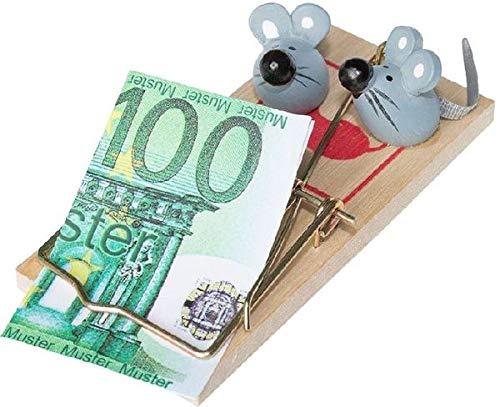 Geldgeschenk Mäusefalle für Mäuse zum Ausgeben inklusive 2 Mäuse und Geldscheinm