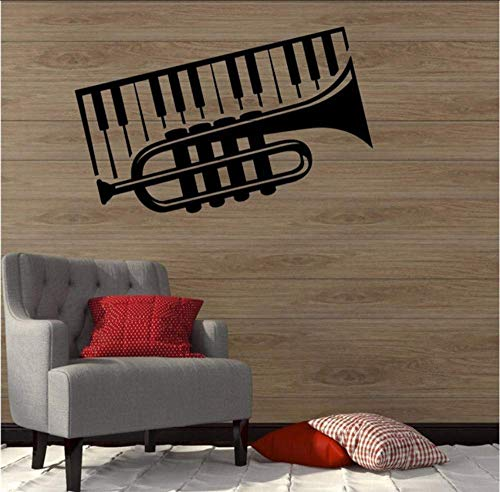 DIY Muursticker PVC Vinyl Cartoon Home Decoratie Piano Trompet Muziek Decoratie Decoratieve Vinyl Decoratieve Vinyl Modern Design Wanddecoratie Muurstickers 92 x 58 cm